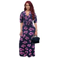 1a8f678642 2019 Fashion Flowers Pattern Printed Maxi Dresses Casual Short Sleeve V  Neck Robes Femme Plus Size Vestidos With Belt WS8798U