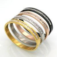 бриллиантовый браслет широкий оптовых-Роскошные Алмаз пара браслет мода розовое золото Алмаз полный алмазов браслет широкий узкий издание титана стали мужские и женские браслет