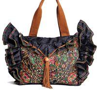 ingrosso sacchetti di pizzo fatti a mano-Borse da donna in pizzo broccato di marca nero tela borse ricamo etnico borsa a mano con paillettes a spalla