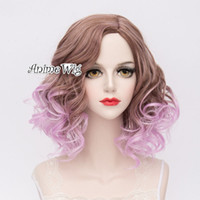 Wholesale purple hair lolita cosplay for sale - Lolita Curly Purple Mixed Brown Ombre Heat Resistant Party Cosplay Hair Wig