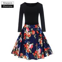свадебные платья оптовых-ShejoinSheenjoy Autumn Floral Print Dress Women Long Sleeve Hepburn 50s 60s Vintage Dress Patchwork Big Swing Rockabilly Dresses