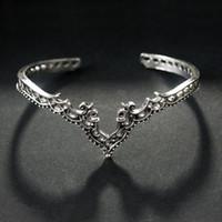 bracelet de diamant marron achat en gros de-bijoux en forme de V diamant bracelets fleur creux rétro brun rétro argent couple marque commerce bracelets