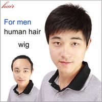 Wholesale human hair lace wigs unprocessed for sale - Fashion Straight Short Men s Wigs Natural Black Color Unprocessed Virgin Human Hair Wigs Men s Toupee