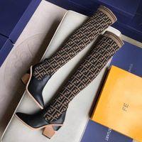 bottes de talon d'hiver pour femmes achat en gros de-2018 Stylistes de luxe à la mode pour femmes à talons hauts, chaussettes en bottes extensibles, bottes 22 cm sur le genou, bottes F respirantes et élastiques pour dames