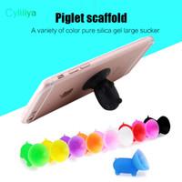 zellenhalter silizium großhandel-Universal niedliche Schweinform farbig Silikon Handyhalter Handyhalter Sitz faul Telefonhalter für Iphone note8 Ipad Sony Tablet