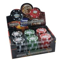 Wholesale chip grinder - 3 Layers Poker Chip Style Herb Herbal Tobacco Grinder Grinders Smoking Pipe Accessories gadget Red Green Black 240PCS CARTON