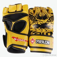 Wholesale kung fu gloves online - PU Adult Muay Thai Training Special Gloves Half Finger MMA Mitt Boxing Gloves Kung Fu Fighting Martial Arts Gloves White Black Blue Yellow