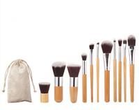 pó de rosto solto rosa venda por atacado-Profissional escova 11 pçs / lote bambu lidar com pincéis de maquiagem, 11 pcs make up brush set cosméticos escova kits ferramentas