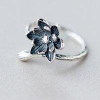 antika gümüş açık halkalar toptan satış-QIMING Kadınlar Için 925-Sterling-Silver Açık Antik Yüzükler Retro Tarzı Lady Çiçek Lotus Yüzük Alerji Önlemek Noel Günü Hediyesi