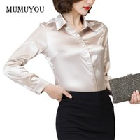 formal blouses tops 2018 - Women Long Sleeve Formal Shirt Satin Work Business Office Lady Blouse Fashion Top Solid 7 Colors Turn-down Collar Shirt 200-A027
