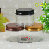 Wholesale small clear plastic jars resale online - 40 grams clear PET Jar Small PET Jar ml Container with Bronze black gold aluminum Cover g Eye cream Cosmetic Packaging