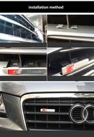 ingrosso s3 mount-S Line Front Grille Distintivo dell'emblema Adesivo in plastica cromata ABS - Attacco anteriore per Audi S3 S4 S5 S6 S8 A1 A3 A4 A5 A6 A7