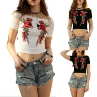 Wholesale Bateau Neckline Tops - New 2018 Fashion Boat Neckline Embroidered Tops Women Sexy Floral Pattern Ribbed T-shirt Navel Leak Tee