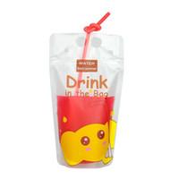design de pacote único venda por atacado-Beber Saco De Armazenamento De Armazenamento De Design Exclusivo Auto-sustentável De Plástico Embalagem Saco De Malote Para Bebida De Água De Suco De Café