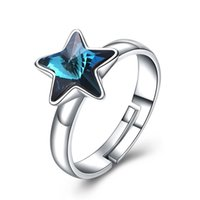 Wholesale swarovski ring free shipping for sale - Group buy Brand S925 Fashion Pure Silver for Women Crystal Comes From Swarovski Element Star Zircon Female Ring