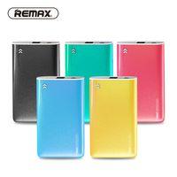 remax power bank charger venda por atacado-REMAX 5000 mAh ultra slim power bank carregador de bateria de polímero externo portátil colorido poder de carregamento para o telefone / huawei