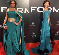 Wholesale gown peacock - Peacock Off Shoulder Evening Dress Long with Cloak Gold Beads 2018 New Arrival African Formal Dresses Kaftan Celebrity Gowns