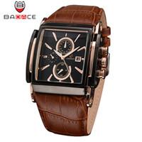 наручные часы japan movt оптовых-BADACE  Leather Strap Mens Watches Hours Casual Square Clock Japan Movt Quartz Men Watch  Business Wrist Watch 2098