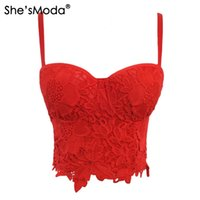 feba04745c She sModa New Embroidery Lace Push Up Bralet Women s Bustier Corset Wedding  Party Corset Cropped Top Vest Plus Size S915