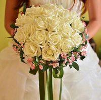 mor pembe buket toptan satış-Gelin Buketleri Yapay Gül Çiçekler PE Ipek Gelin Eller Çiçek Düğün Süslemeleri Buket Kırmızı Mavi Pembe Mor Şampanya Beyaz