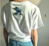 Wholesale couple tshirt print - Rose tshirt Women Couples Clothes T Shirt Summer Short Sleeve Female Embroidery Letters t-shirt harajuk Tops tee shirt femme