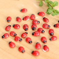 Wholesale Wood Animal Inlays - Wood Ladybug Insect Mini Craft Miniature Fairy Garden DIY Accessories for Home Decoration Houses Micro Landscaping Decor