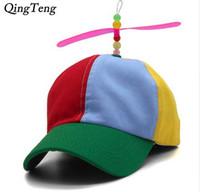 sombreros de bambú snapback al por mayor-Divertidos Niños Adultos Propeller Gorras de Béisbol Colorido Patchwork Marca Sombrero Hélice de Bambú Libélula Niños Niños Niñas Snapback