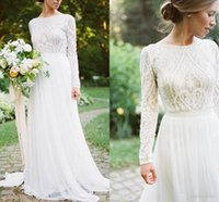 Wholesale champagne detailed wedding dress for sale - Group buy Detail Lace Floral Vintage Bohemian Country Long Sleeve Wedding Dresses Jewel Fairy Plus Size Garden Farm Bridal Reception Dress