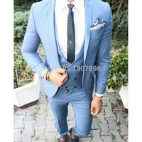 blazers de tres piezas para hombre. al por mayor-Trajes de hombre azul para esmoquin de novios de boda Pantalones de chaqueta de tres piezas Slim Fit Chaleco de doble botonadura 2019 Blazer personalizado