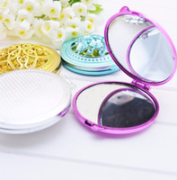 Wholesale double compact - Vintage Hand Mirrors Pocket Mirror Mini Compact Mirrors Girl Double-Side Folded Hollow Out Makeup Mirror P27