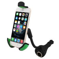 çakmak telefon tutacağı toptan satış-Çift USB Araç Şarj Dağı Telefon Tutucu Çakmak Akıllı iPhone Samsung vb Cep Telefonları Için Cradles Standı GPS