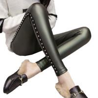Donna Skinny Fit STRINGATI IN FINTA PELLE Abiti donne Leggings girovita alto PANTALONE