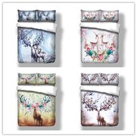 Wholesale floral king pillowcases - Deer Doona Duvet Quilt Cover Set Twin Full Queen King Size Animal Floral Pillowcase Free Shipping