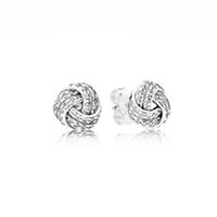 earring love UK - Real 925 Silver Sparkling Love Knots Stud Earrings, Clear CZ For Fashion Women Gift Jewelry