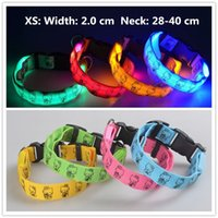 Wholesale flashing safety lights for dogs - A51 Pet LED Collar Puppy led Necklace Night Safety Glow Flashing Dog Cat Collars 2.0 width XS led collar for small pets