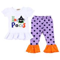 bruja superior al por mayor-2018 Nueva Halloween Baby Girls Trajes Niños Bruja Imprimir Top + Dot Ruffle Flare Pants 2pcs / set Moda Boutique niños Ropa Conjuntos