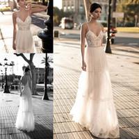 vestidos de tule de gestação venda por atacado-2019 vestidos de noiva de praia para a noiva a linha de vestidos de noiva de maternidade grávida vestidos de noiva grânulos tule laço sem encosto cintas de espaguete boho