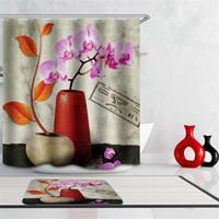 peônia de tecido venda por atacado-Cortina de chuveiro orquídea de alta qualidade 3d cortina do banheiro Tecido de poliéster árvore peônia bambu flor floresta banho com ganchos