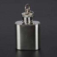 Wholesale alcohol wine liquor resale online - 1oz Hip Flask Stainless Steel Keychain Mini Portable Outdoor Wine Bottle Screw Cap Liquor Alcohol Flagon Keyring Pocket Flasks