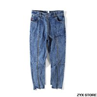 hoch taillierter jeans-reißverschluss großhandel-2017SS Beste Qualität Vetements Frauen Männer Denim Jeans Neunte Hosen Reißverschluss Patchwork Frauen Männer Unregelmäßige Hohe Taille Jeans