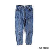мужчины высокой талией джинсы оптовых-2017SS лучшее качество Vetements женщины мужчины джинсовые джинсы девятые брюки молния лоскутное женщины мужчины нерегулярные высокой талией Джинсы