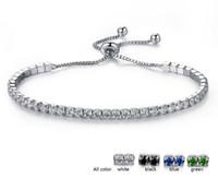 brazaletes de oro blanco para las mujeres al por mayor-Cristal de la boda Cadena de Eslabones Ajustables Pulseras Brazaletes Para Las Mujeres zirconia Oro Blanco color Romántico Encanto Pulseras Joyería