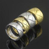logos impressos china venda por atacado-316L titanium amantes de aço anéis em 0.8 cm de largura anel de banda com losango impresso Mulheres e Homens anel de jóias com logotipo original PS5488