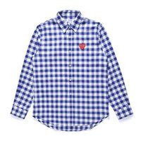 camisas pólo xadrez para homens venda por atacado-Pólo Dos Homens Camisa JOGAS JOGAR Japonês Coração Camisa Des Garcons Fora Das Mulheres Dos Homens Branco Camisa de Algodão Xadrez Azul CDG HOLIDAY Camisas Vetements Casacos