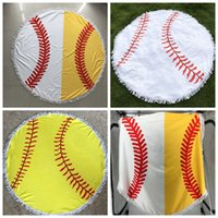 Wholesale polka dot robes online - 150 cm Baseball Softball Tapestry Beach Towel Round blanket with Tassel Beach Throw round Sports Yoga Mat