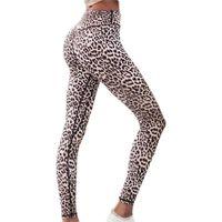 Wholesale leopard stretch pants - Sexy Leopard Print High Waist Yoga Leggings Hip Push Up Stretch Yoga Pants Compression Running Tights Jogging Sport Leggings