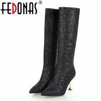 night club heels 2018 - FEDONAS New Knee High Boots For Women High Heels Zipper Autumn Winter Party Night Club Dancing Shoes Woman Long Warm Martin Boot