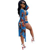 ingrosso bikini stampa bandeau-I più nuovi set di bikini a fascia con fasciatura a fascia incrociata + coprono 3 set di pezzi costumi da bagno