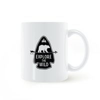 Wholesale Wild Decor - Arrow Bear Adventure Explore The Wild Mug Coffee Milk Ceramic Cup Creative DIY Gifts Home Decor Mugs 11oz T679