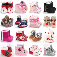 Wholesale baby santa shoes resale online - Kids winter Santa Claus elk Shoes infant Christmas deer snow boots Newborn Girls boys Xmas Boots Baby Toddler First Walkers styles C4902